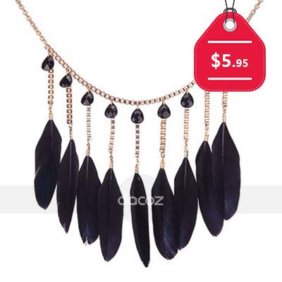 Black Feather Pendant Collar Necklace, $5.95