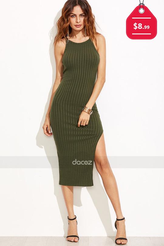 Olive Green Side Slit Ribbed Cami Dress, $8.99