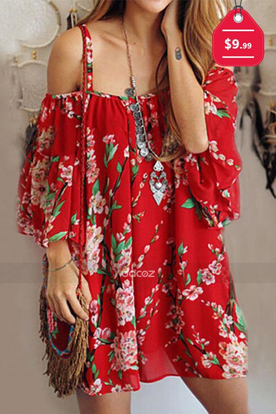 Floral Off Shoulder Chiffon Mini Strap Dress, $9.99