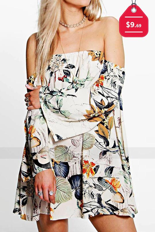 Floral Slash Neck Mini Dress Without Necklace, $9.69