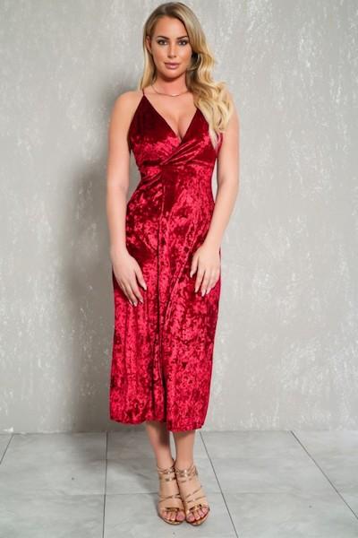 Sexy Wine Velvet Front Slit Sleeveless Midi Party Dress