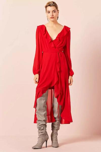 Ruffle Wrap High-Low Dress