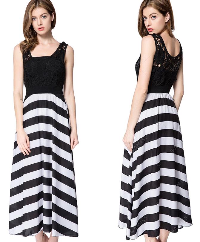 Line Striped Lace Panel Maxi Flowy Prom Dress