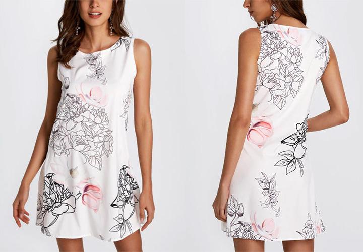 Random Floral Print Crew Neck Mini Length Dress