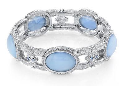 Celestial Treasures Blue Moonstone Link silver tone Bracelet