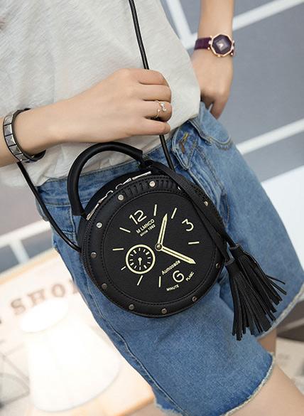 Watch Printed Tassel Zipper PU Leather Bag