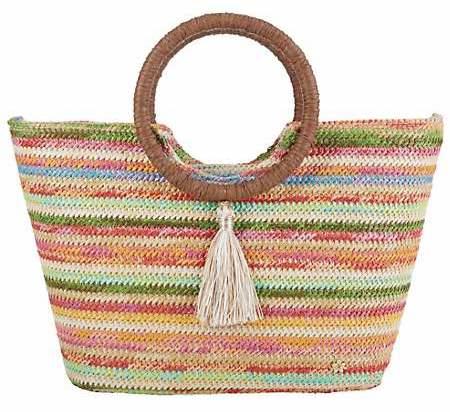 Capelli Striped Tassel Tote Handbag