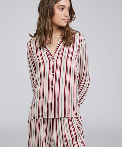 Striped button-up shirt