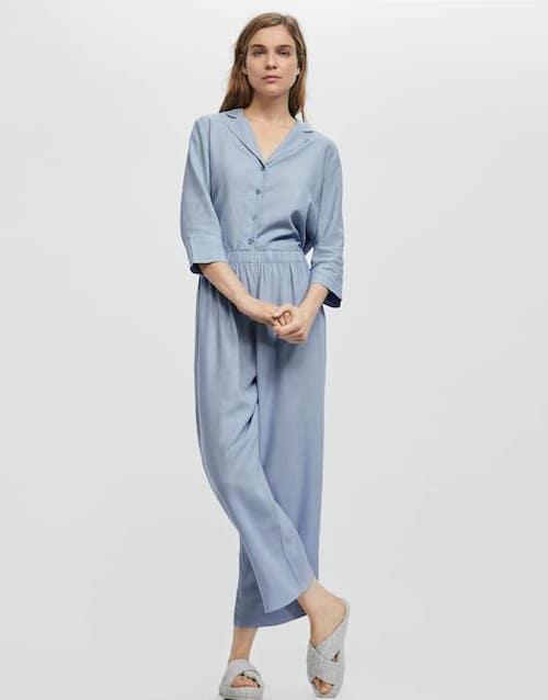 Long plain linen trousers