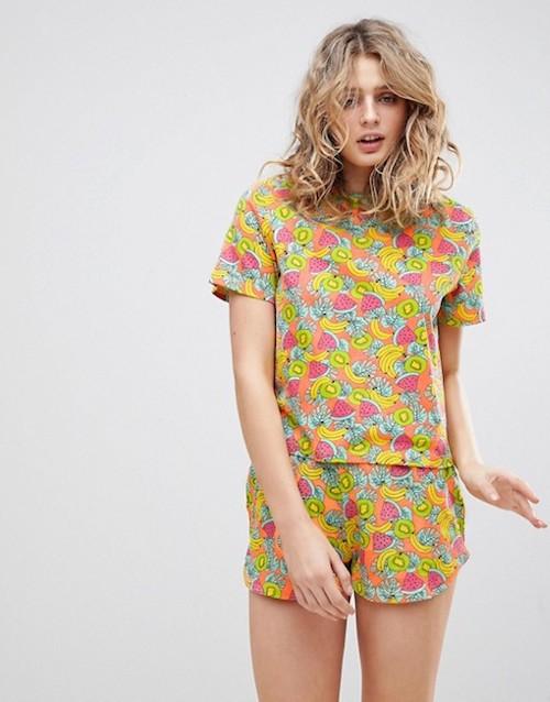 ASOS Tropical Fruity Tee & Short Pyjama Set