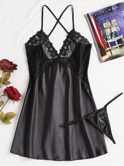 Cami Lace Panel Lingerie Dress, Black