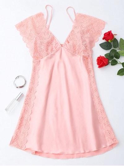 Lace Satin Mini Sleep Dress, Pink