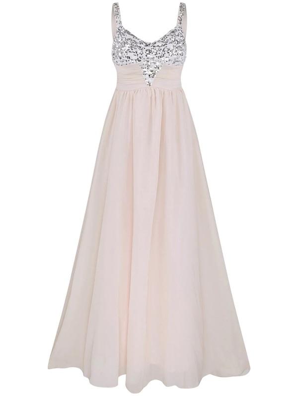 Light Pink Sequin Insert Spaghetti Strap Chiffon Dress