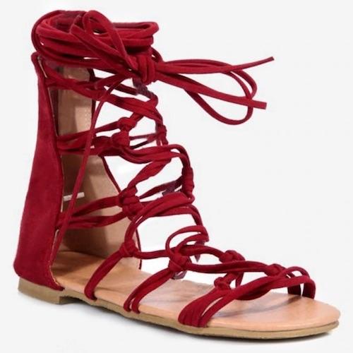 Plus Size Crisscross Leisure Flat Heel Lace Up Sandals