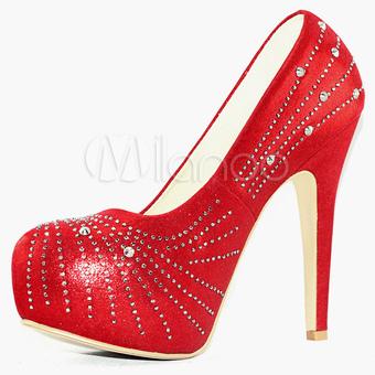 Platform wedding shoes red high heel party pumps rhinestone bridal shoes