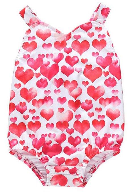 Girls One-Piece Swimwear Suits Sweet Hearts Frint