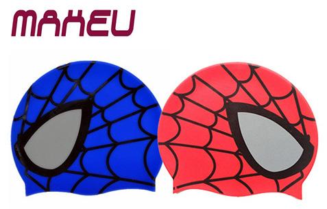 Hot Silicone Children Elastic Cartoon Spiderman Printed Swimming Cap, Red / Blue