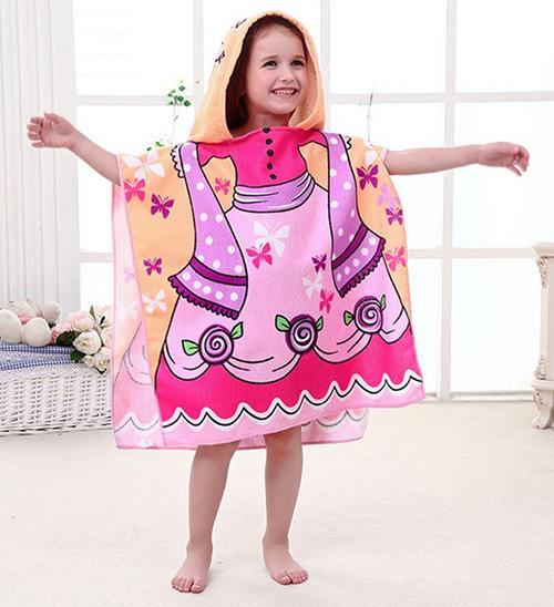 Baby Hooded Poncho Character Kids Bath Robe Towel