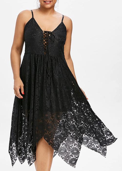 Plus Size Cami Lace Up Dress