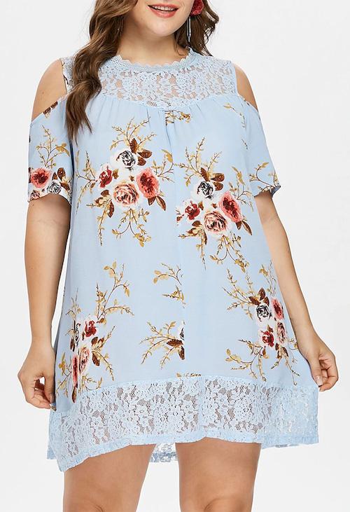 Plus Size Flower Lace Tunic Dress
