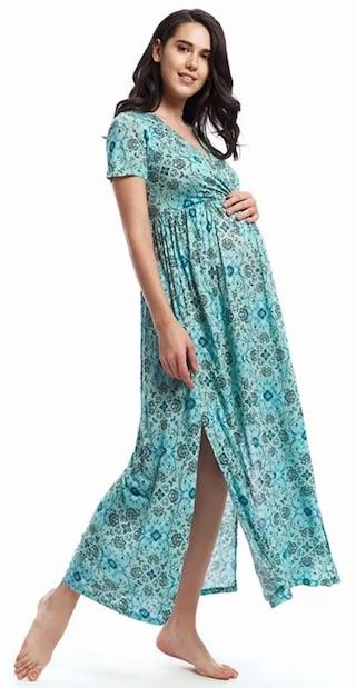 Nuthatch Maxi Wrap Dress - Blue & Green