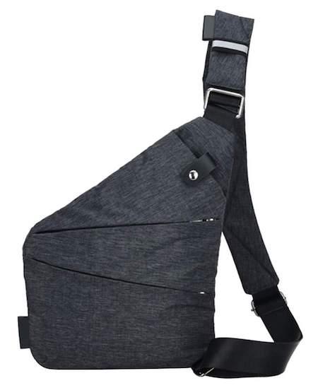 Fashion Men Canvas Chest Bag Simple Messenger Bag Crossbody Bag(Black)