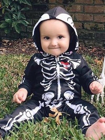 Skull Print Zipper Hooded Baby Boy's Clothing