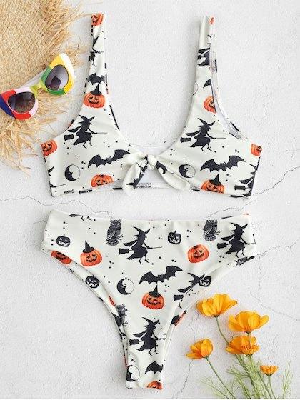 ZAFUL Halloween Knotted Bat Pumpkin Bikini Set - Beige M