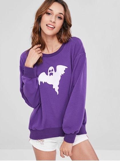 ZAFUL Oversized Ghost Graphic Sweatshirt - Purple