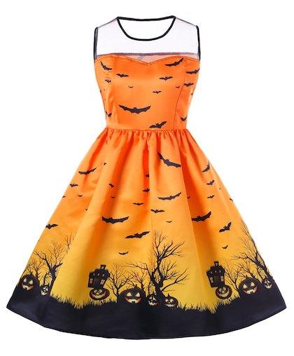 Halloween Mesh Insert Plus Size A Line Dress - Orange