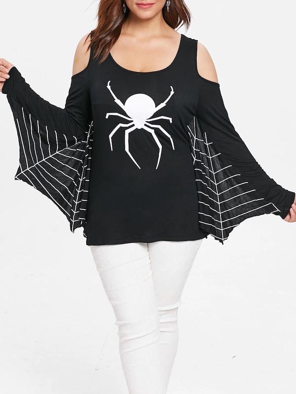 Halloween Plus Size Spider Web Tee - Black