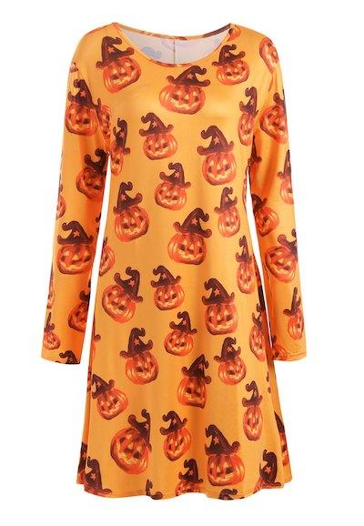 Plus Size Halloween Pumpkin Long Sleeve Tee Dress - Yellow