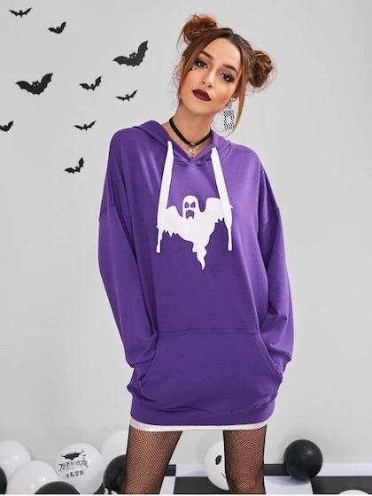 $9.99 ZAFUL Front Pockets Ghost Halloween Hoodie - Purple