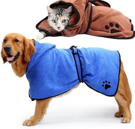 Dog Bathrobe Warm Dog Clothes Absorbent Pet Drying Towel Embroidery Paw Cat Hood Pet Bath Towel from Banggood.com