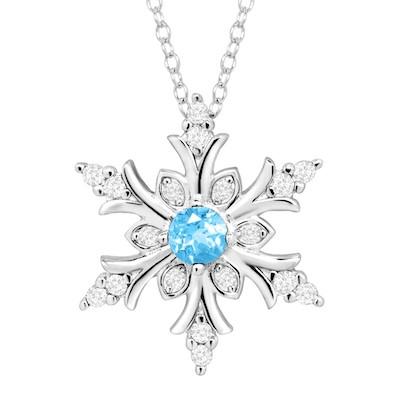 3/8 Ct Blue Topaz & White Sapphire Snowflake Pendant