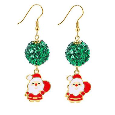 Snowman Pendant Sequin Embellished Christmas Earrings, $7.16