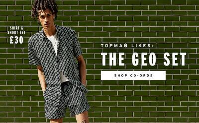 TOPMAN LIKES Black and Green Geometric Co-Ord Set £30.00