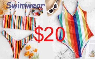 Zaful Rainbow Swimwear Under $20
